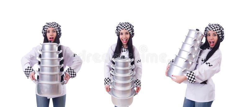 O cozinheiro com a pilha de potenci?metros no branco foto de stock