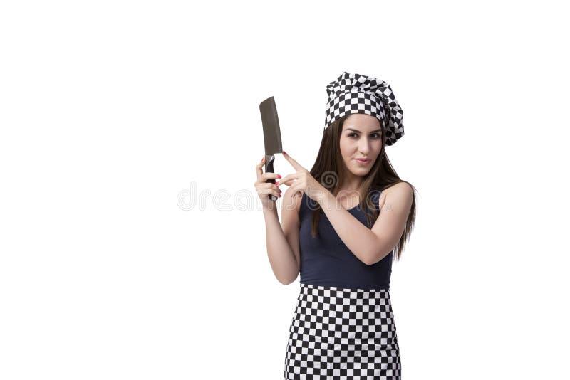 O cozinheiro da jovem mulher isolado no fundo branco fotografia de stock royalty free