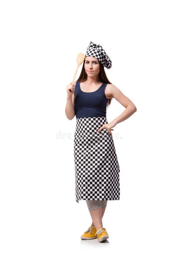 O cozinheiro da jovem mulher isolado no fundo branco imagens de stock royalty free