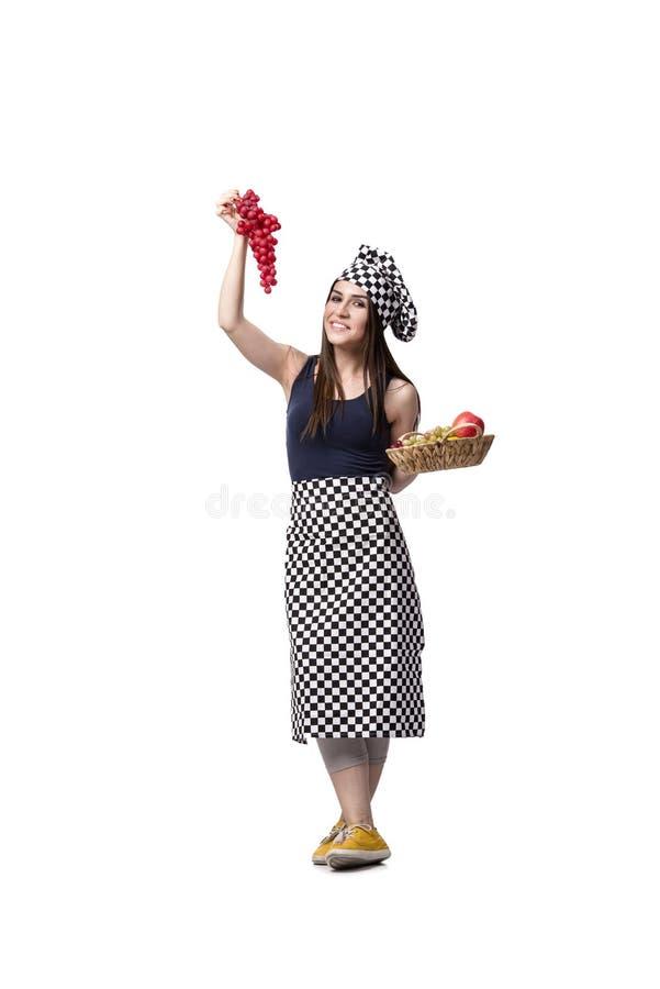 O cozinheiro da jovem mulher isolado no fundo branco imagens de stock