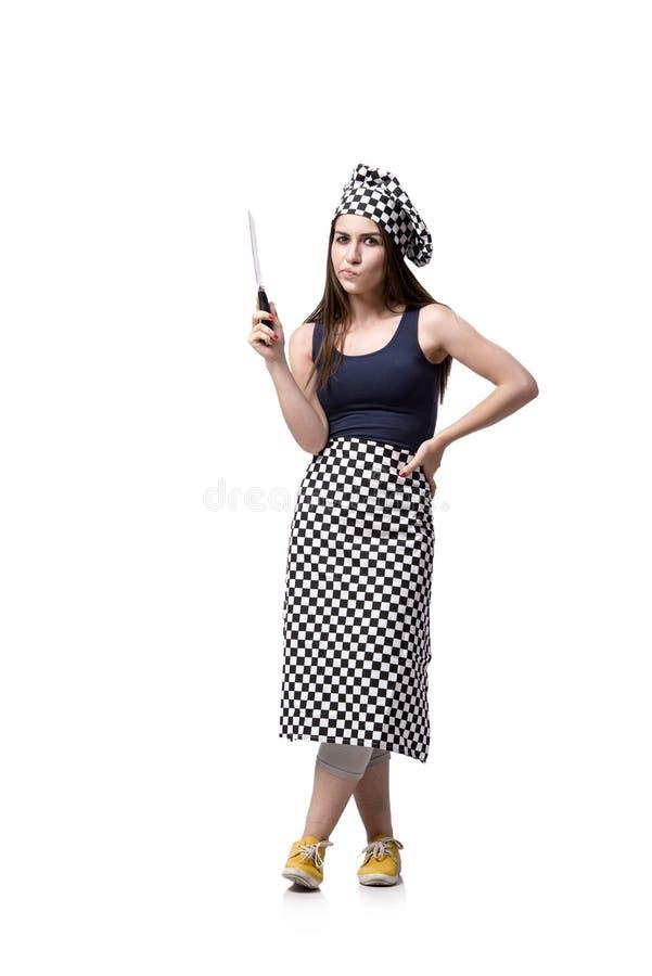 O cozinheiro da jovem mulher isolado no fundo branco foto de stock royalty free