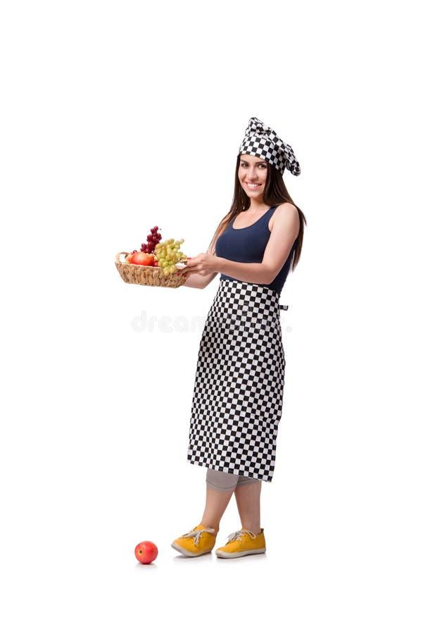 O cozinheiro da jovem mulher isolado no fundo branco imagem de stock royalty free