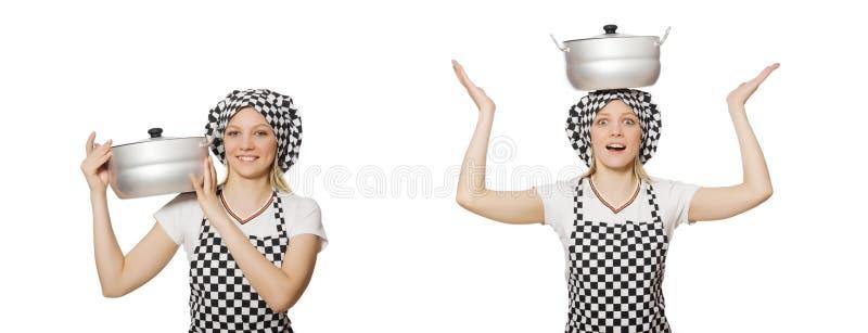 O cozinheiro da mulher isolado no fundo branco foto de stock royalty free