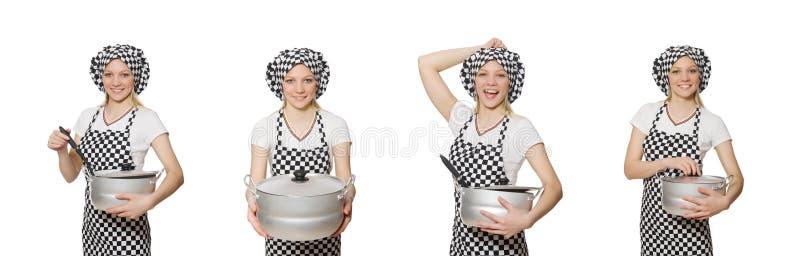 O cozinheiro da mulher isolado no fundo branco fotografia de stock