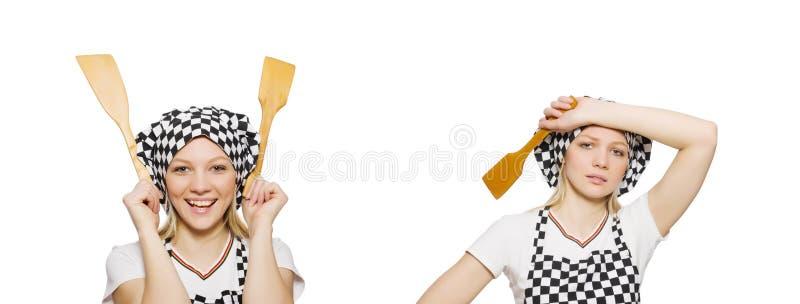 O cozinheiro da mulher isolado no fundo branco fotografia de stock royalty free