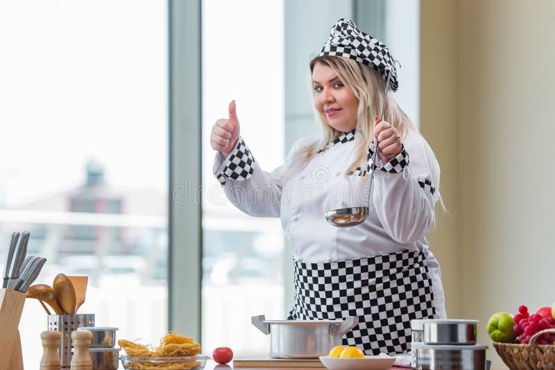 O cozinheiro da mulher que trabalha na cozinha brilhante foto de stock