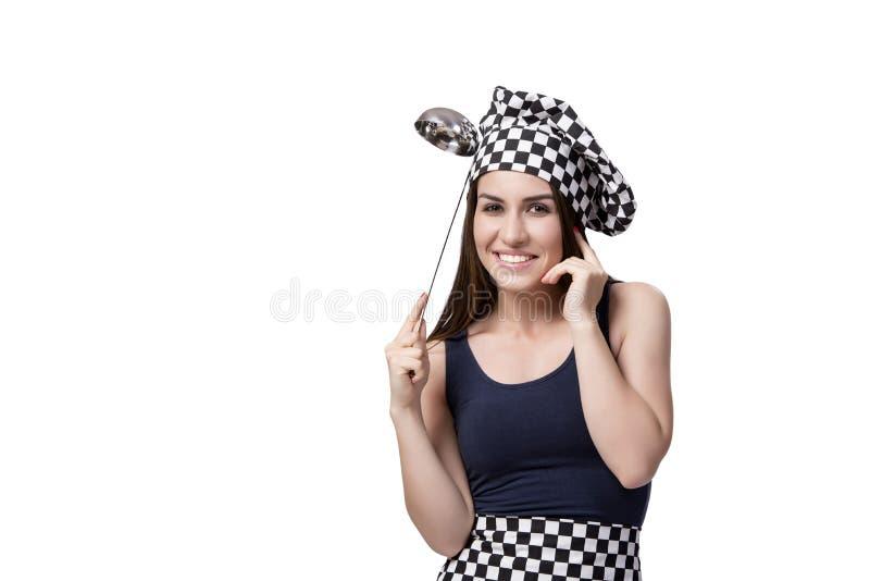 O cozinheiro do cozinheiro chefe da jovem mulher isolado no branco fotografia de stock
