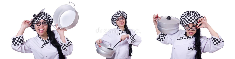 O cozinheiro novo isolado no branco fotografia de stock