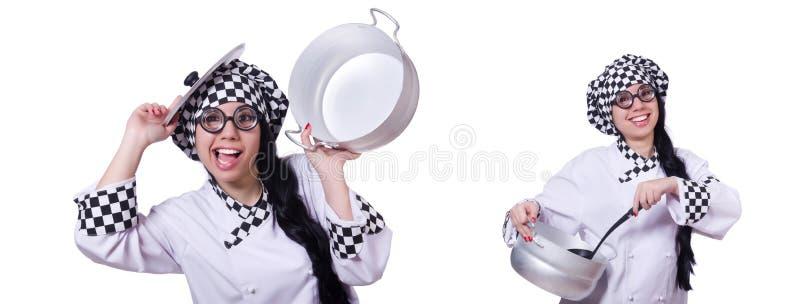 O cozinheiro novo isolado no branco imagem de stock royalty free