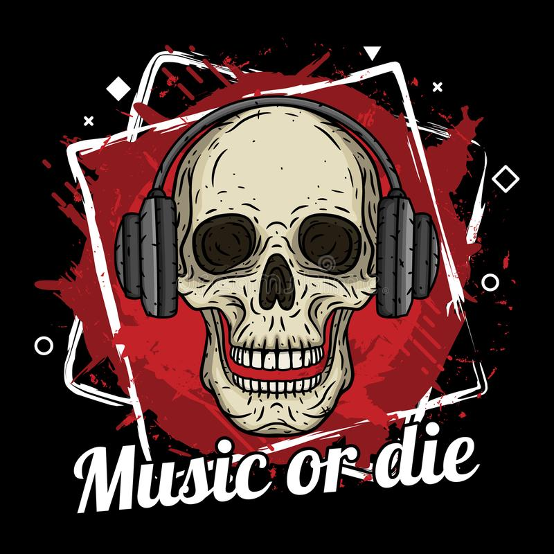 O crânio com fones de ouvido, o fundo do grunge e a música do slogan ou morrem ilustração royalty free
