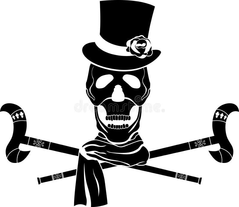 O crânio dândi no cilindro com levantou-se ilustração stock