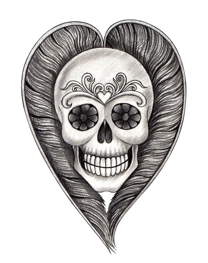 O crânio da arte voa a tatuagem do coração ilustração do vetor