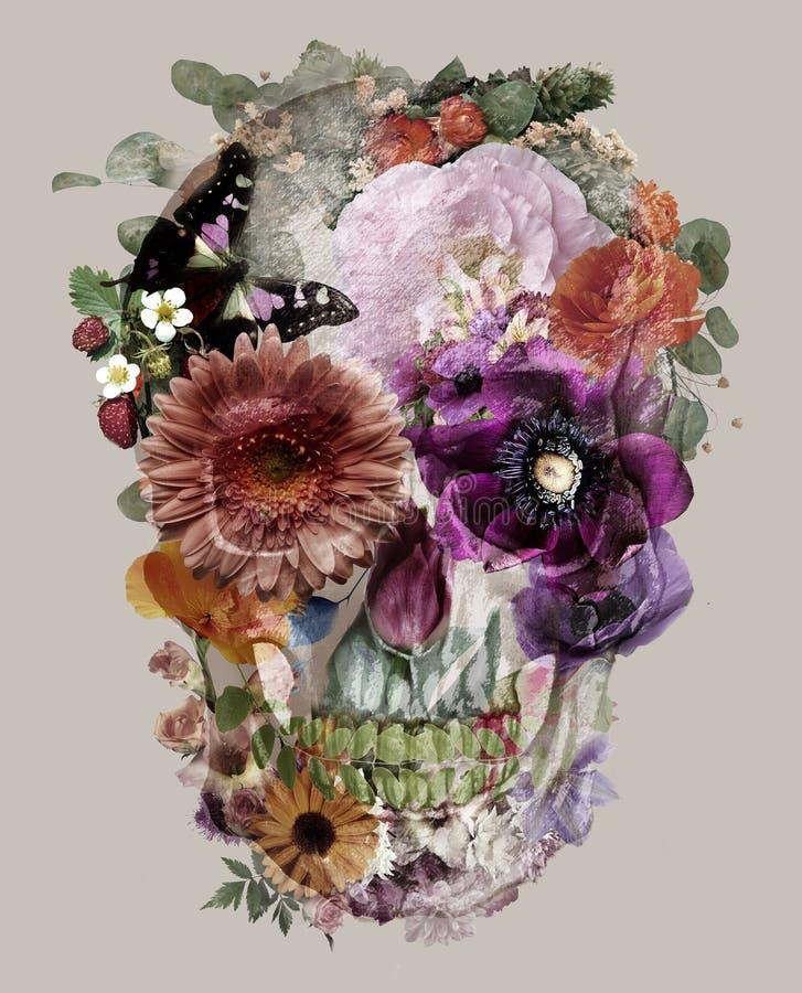 O crânio das flores ilustração stock