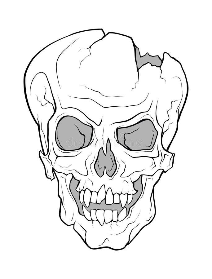 O crânio de um vampiro de arreganho Ilustração do Monochrome do vetor ilustração royalty free
