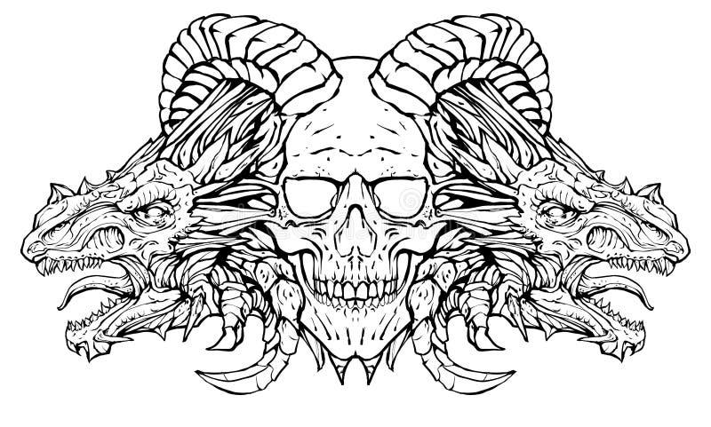 O crânio de uma linha-arte do demônio ilustração stock