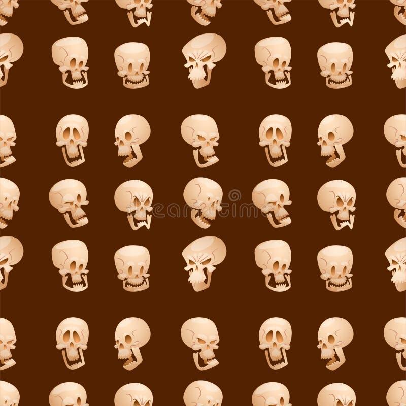 O crânio desossa o medo dos ossos cruzados do horror do Dia das Bruxas do rosto humano assustador ilustração stock