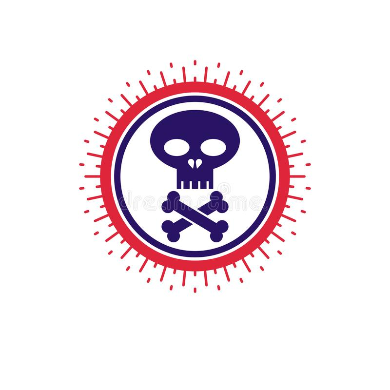 O crânio e os ossos vector o ícone isolado no fundo branco Warnin ilustração stock