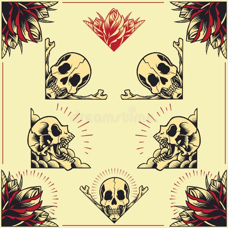 O crânio e Rose Frames ajustaram 01 ilustração royalty free