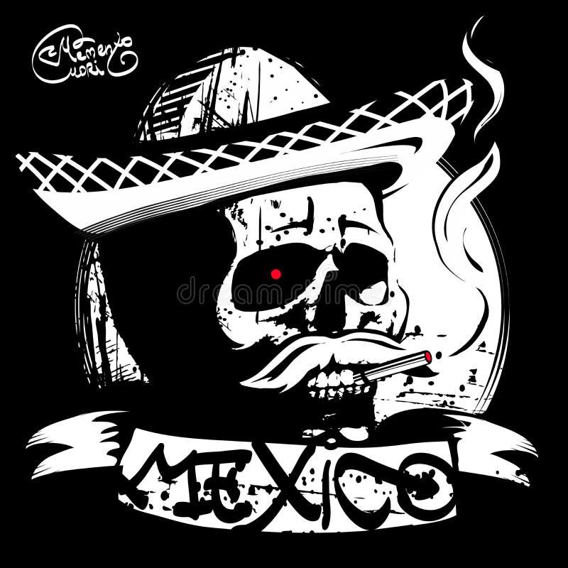 o crânio em um sombreiro, t-shirt da cópia ilustração do vetor
