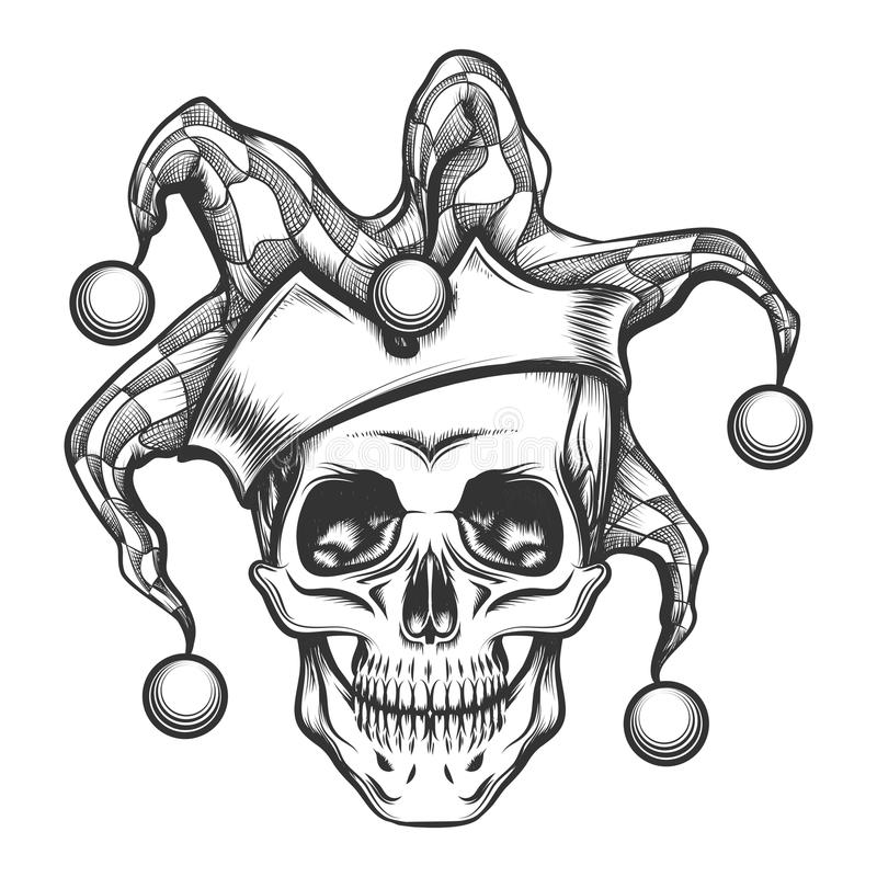 O crânio no tampão do palhaço ilustração do vetor