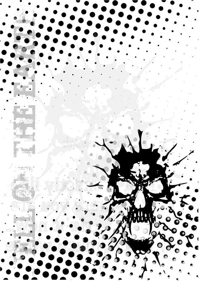 O crânio pontilha o fundo do poster ilustração royalty free