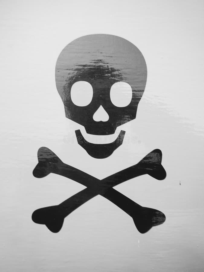 O crânio preto e branco e o detalhe de esqueleto dos ossos da cruz imprimem fotos de stock royalty free