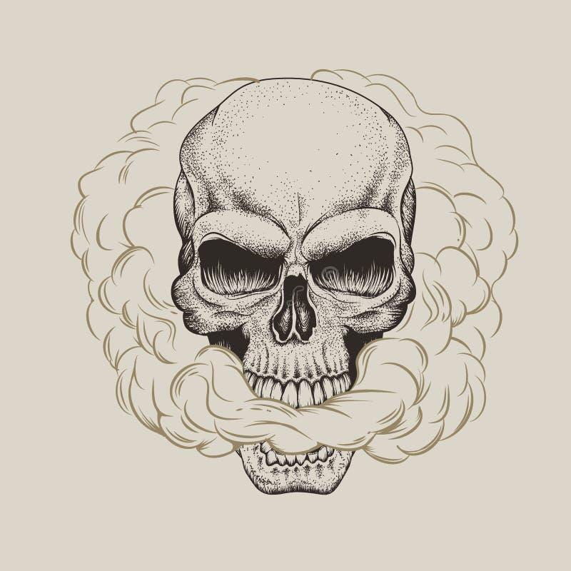 O crânio respira o fumo ilustração stock