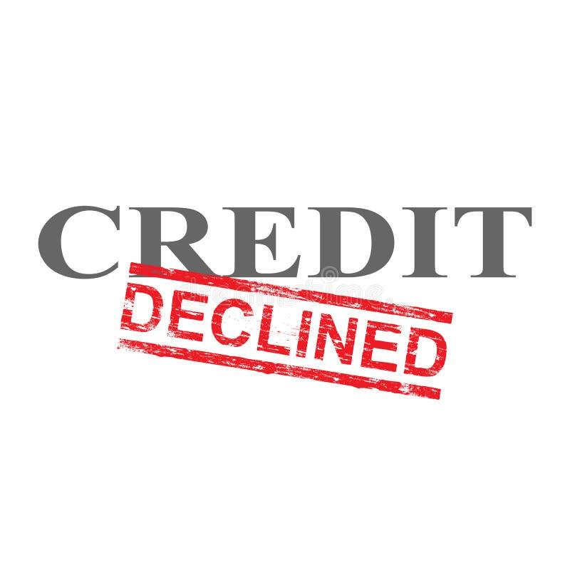 O crédito diminuiu o selo da palavra ilustração do vetor