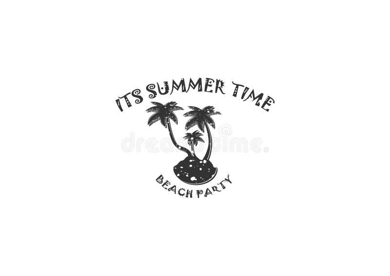 O crachá do vintage do verão é totalmente crachá do verão com olhar handrawan do vintage O vetor completo, texto editável dan mer ilustração do vetor