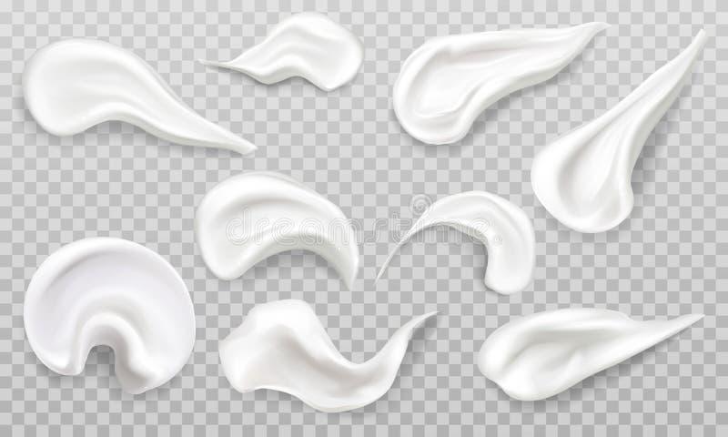 O creme branco mancha o grupo da amostra de folha Produto dos cosm?ticos ilustração do vetor