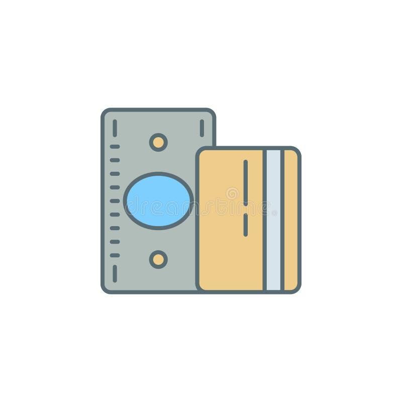 o crepúsculo do cartão da conta e de crédito denomina a linha ícone Elemento do ícone da operação bancária para apps móveis do co ilustração royalty free