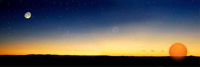 O crepúsculo stars o sol imagem de stock royalty free