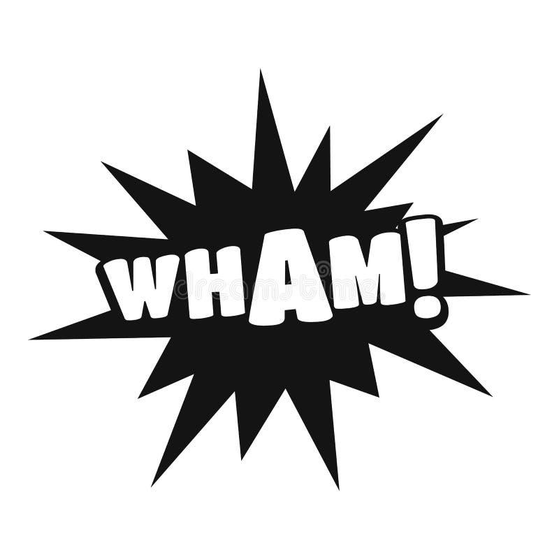 O crescimento cômico wham ícone, estilo preto simples ilustração stock