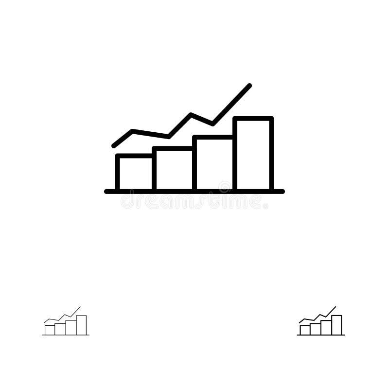 O crescimento, faz um mapa, esquematiza, representa graficamente, aumenta, progride linha preta corajosa e fina grupo do ícone ilustração stock