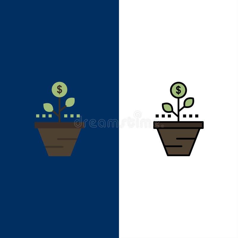 O crescimento, negócio, cuidado, finança, cresce, crescendo, dinheiro, ícones do aumento O plano e a linha ícone enchido ajustara ilustração do vetor