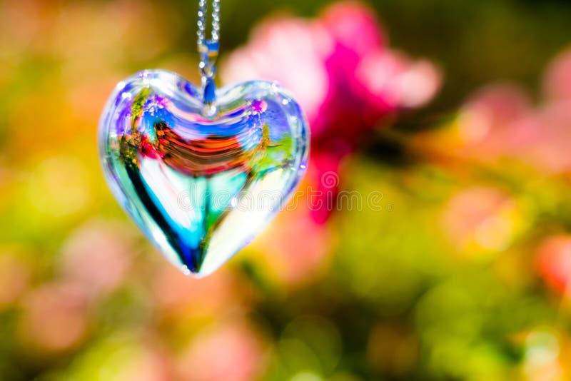 O cristal do coração refrata a luz solar - fundo do jardim de rosas imagens de stock
