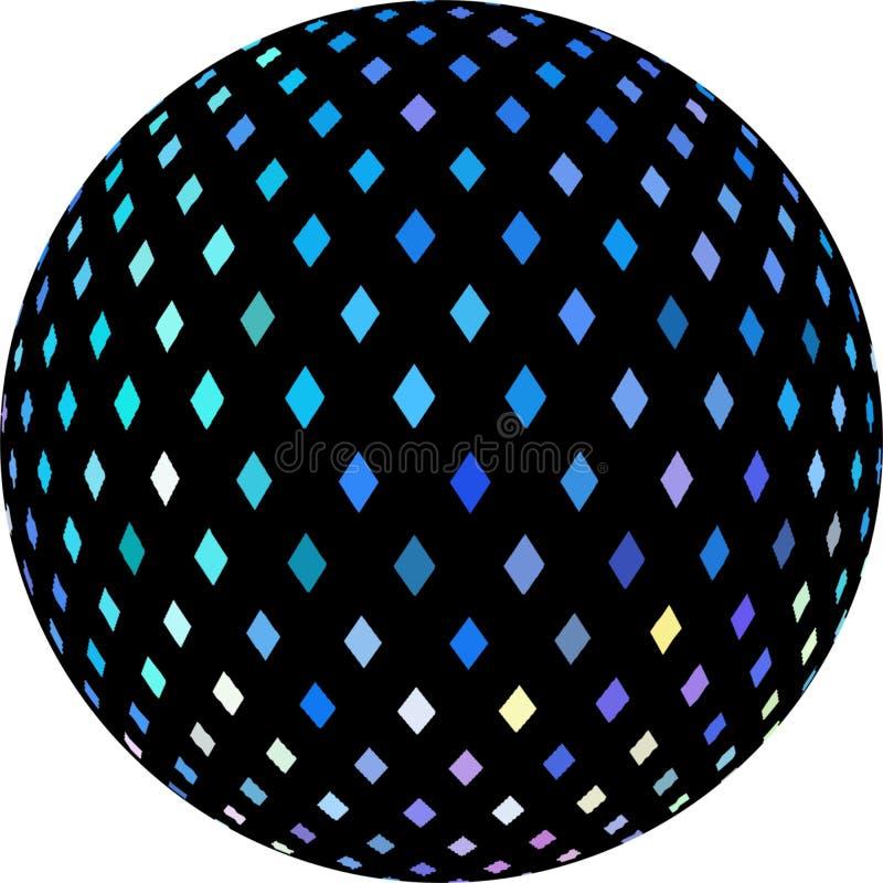 O cristal vislumbra o teste padrão azul do mosaico no gráfico preto da esfera 3d ilustração stock