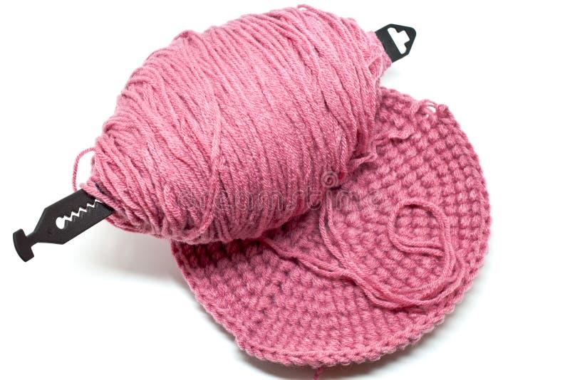 O crochet e a seda. foto de stock