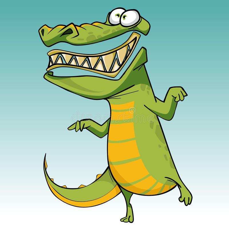 O crocodilo toothy assustador engraçado dos desenhos animados está estando em um pé ilustração do vetor