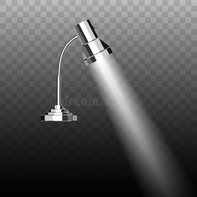 O cromo de poupança de energia fluorescente chapeou a lâmpada do móbil da tabela do metal ilustração do vetor
