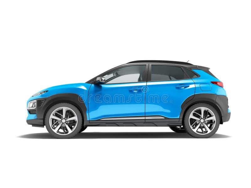 O cruzamento azul moderno 3D do carro rende no fundo branco com sha foto de stock royalty free