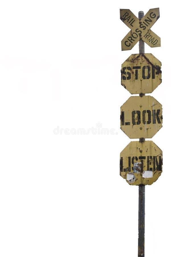 O cruzamento de estrada de trilho, parada, olhar, escuta assina dentro Manila, as Filipinas imagem de stock royalty free