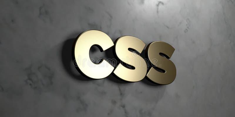 O Css - sinal do ouro montado na parede de mármore lustrosa - 3D rendeu a ilustração conservada em estoque livre dos direitos ilustração do vetor