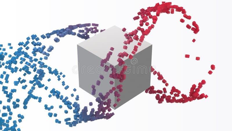 O cubo branco grande e os cubos pequenos fluem ilustração do vetor do estilo 3d ilustração do vetor