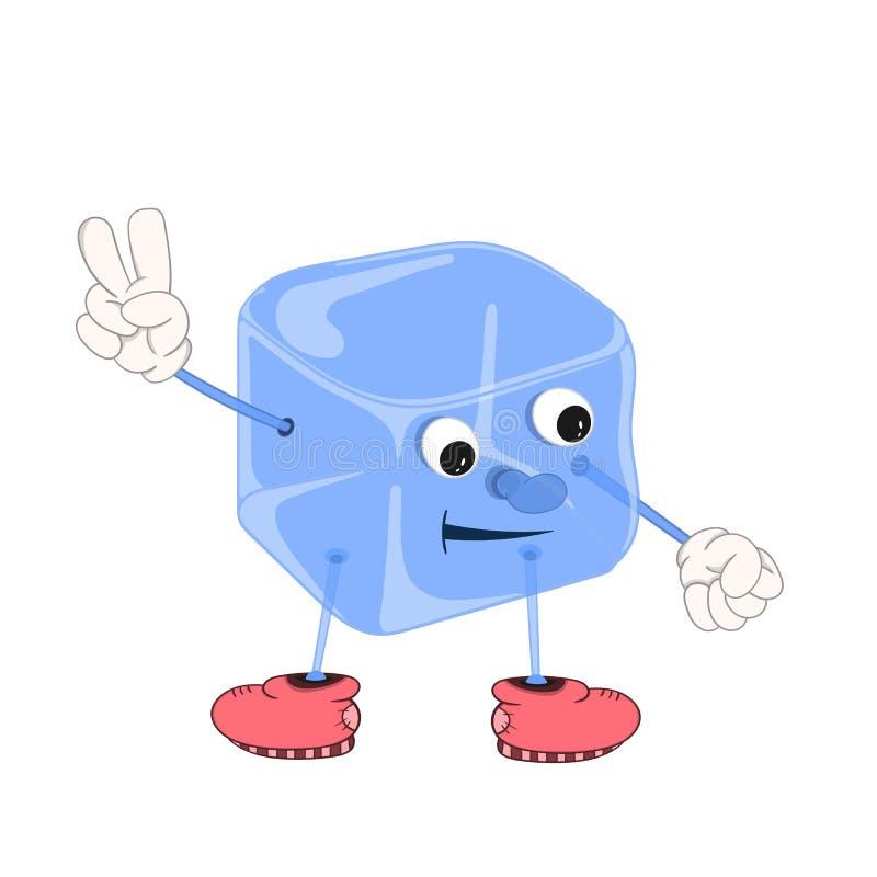 O cubo de gelo azul dos desenhos animados engraçados com olhos, mãos e pés nas sapatas, mostra dois dedos ilustração do vetor
