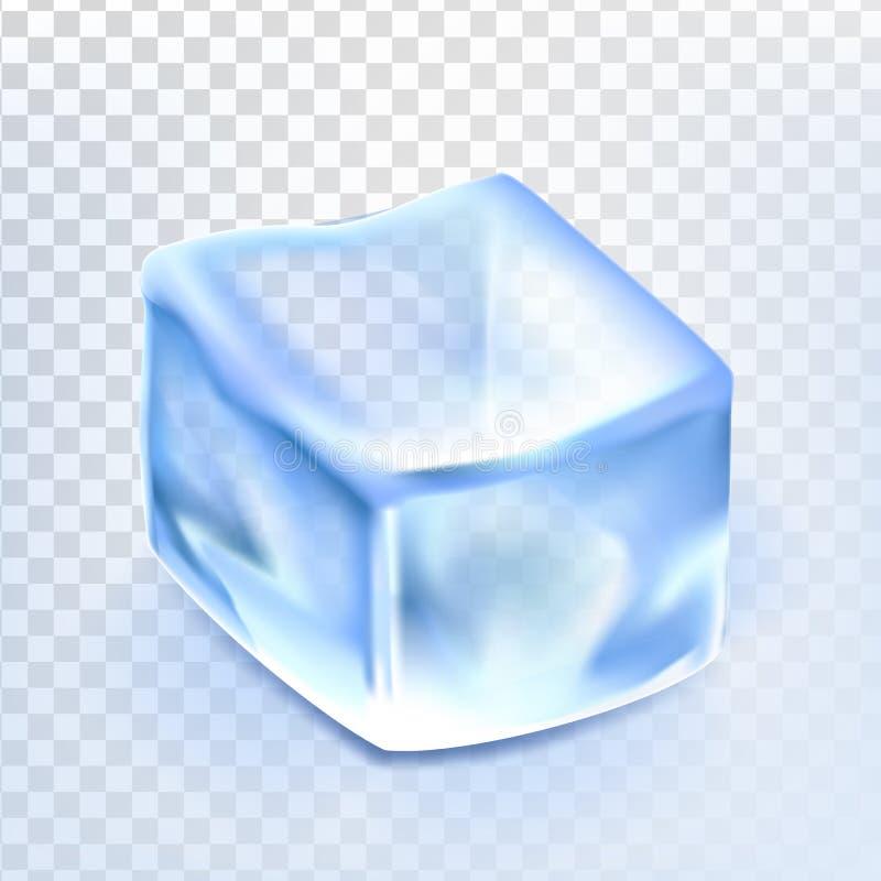 O cubo de gelo isolou o vetor de Transpatrent Bebida de vidro fresca Líquido congelado Elemento brilhante de Coctail Ilustração r ilustração stock
