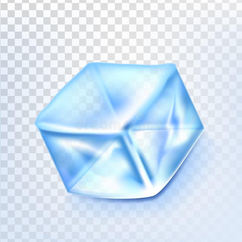 O cubo de gelo isolou o vetor de Transpatrent Bloco azul da água de gelo Bebida de vidro fresca Ilustração realística ilustração do vetor