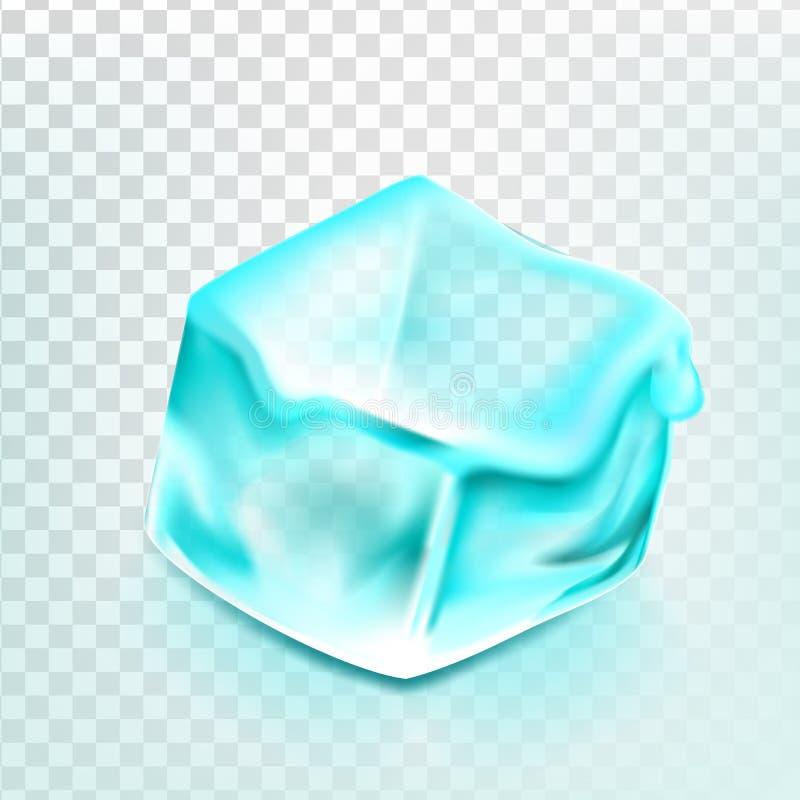 O cubo de gelo isolou o vetor de Transpatrent Bloco azul da água de gelo Bebida de vidro fresca Líquido congelado Ilustração real ilustração royalty free