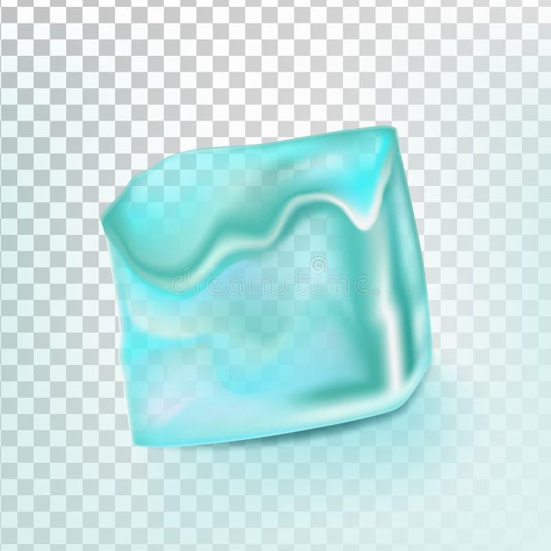 O cubo de gelo isolou o vetor de Transpatrent Crystal Icon frio limpo Elemento brilhante de Coctail Ilustração realística ilustração do vetor
