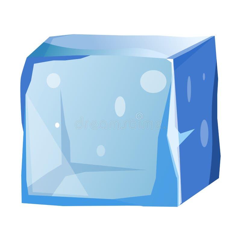 O cubo de gelo transparente com bordas desiguais isolou a ilustração ilustração stock